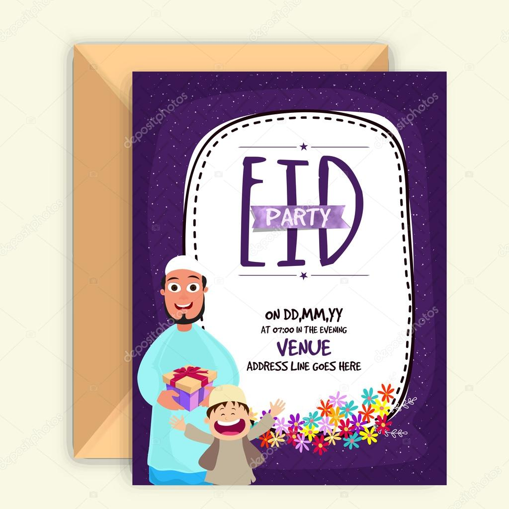 Invitation card for eid mubarak celebration stock vector beautiful invitation card design with envelope and islamic people celebrating and enjoying on occasion of muslim community festival eid mubarak stopboris Image collections