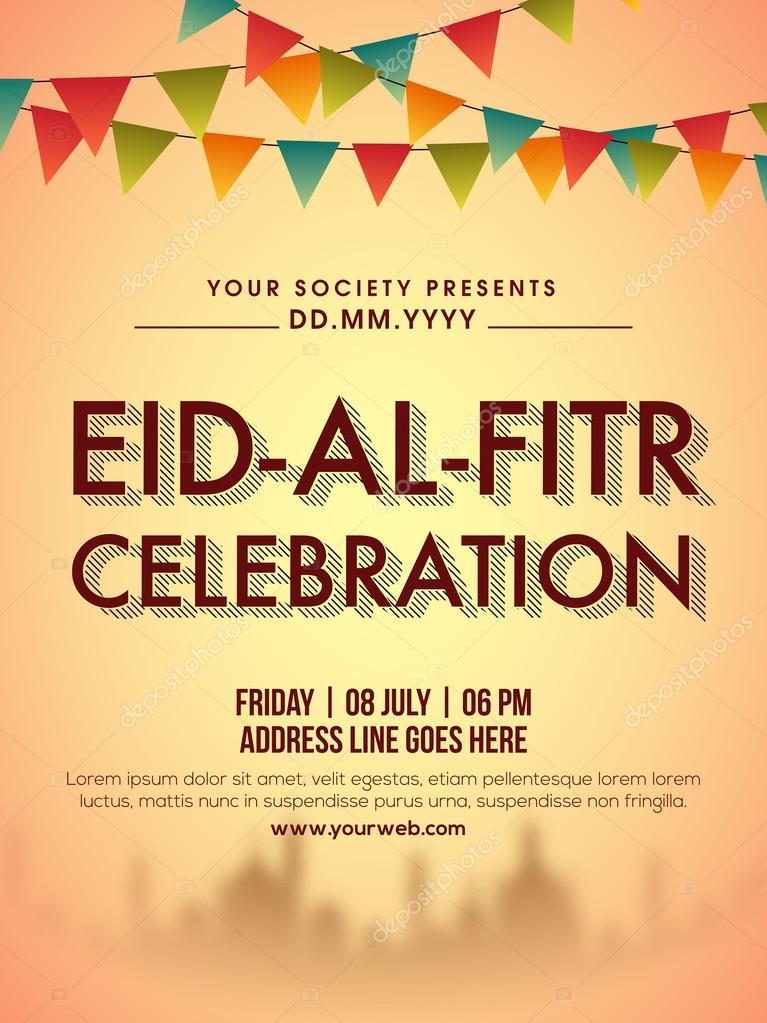 Invitation card design for eid al fitr celebration vetores de eid al fitr celebration invitation card design decorated with colourful buntings and mosque silhouette can be used as poster banner or flyer for muslim stopboris Choice Image