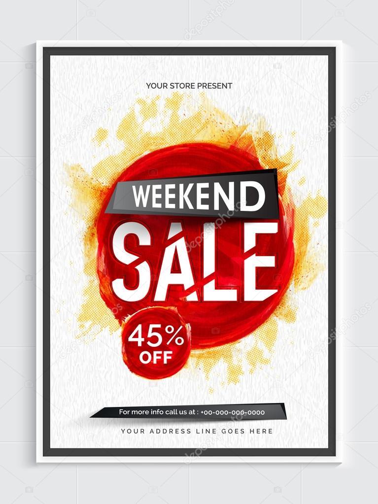 weekend sale poster banner or flyer design ストックベクター