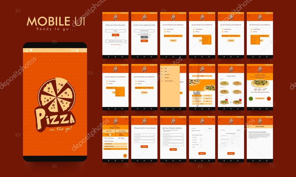 Online Food Order Mobile App UI, UX and GUI  — Stock Vector