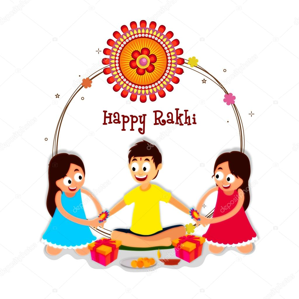 Cute brother and sisters for raksha bandhan stock vector cute little sisters tying rakhi in both hands of their brother elegant greeting card design for indian traditional festival happy raksha bandhan kristyandbryce Image collections