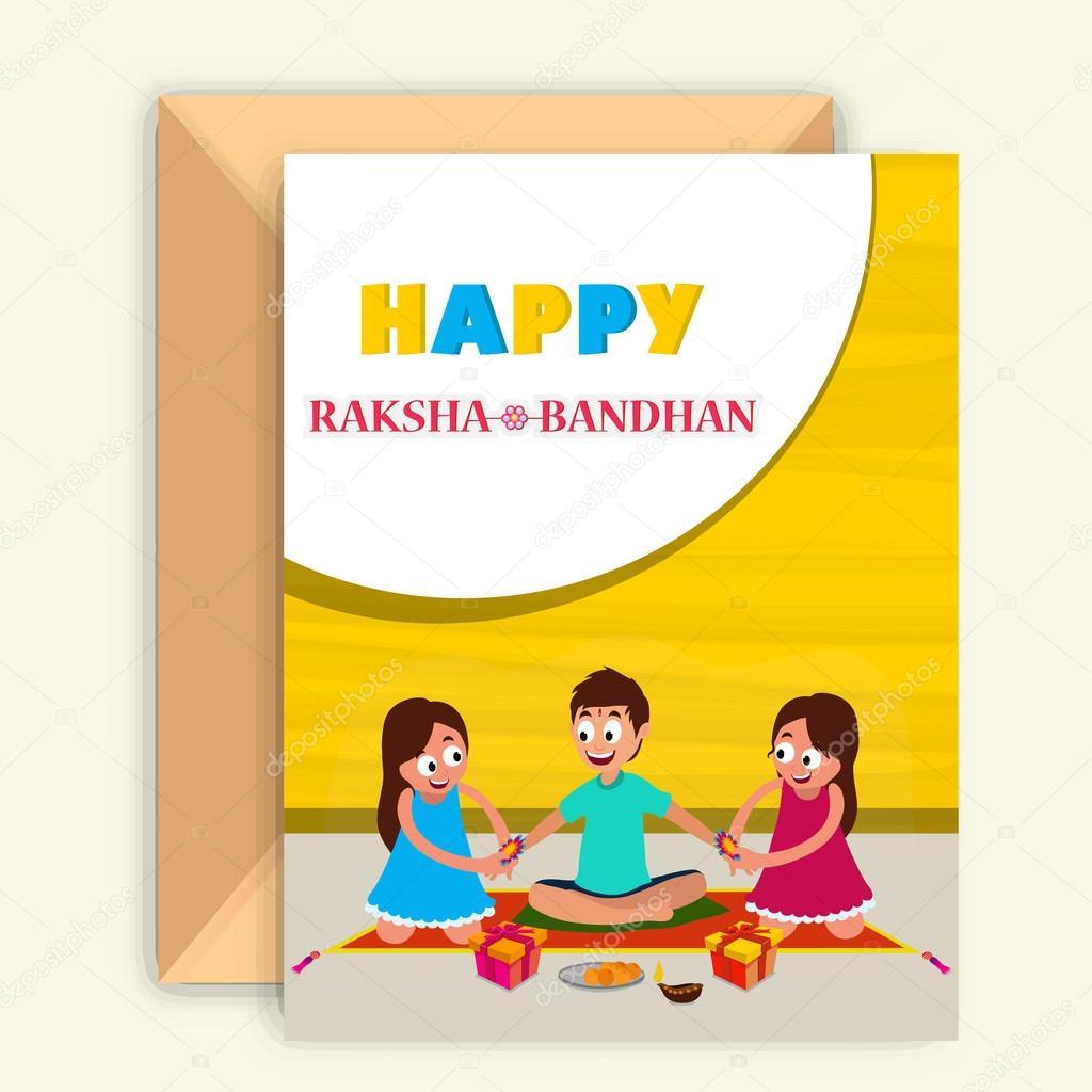 Greeting Card With Envelope For Raksha Bandhan Stock Vector