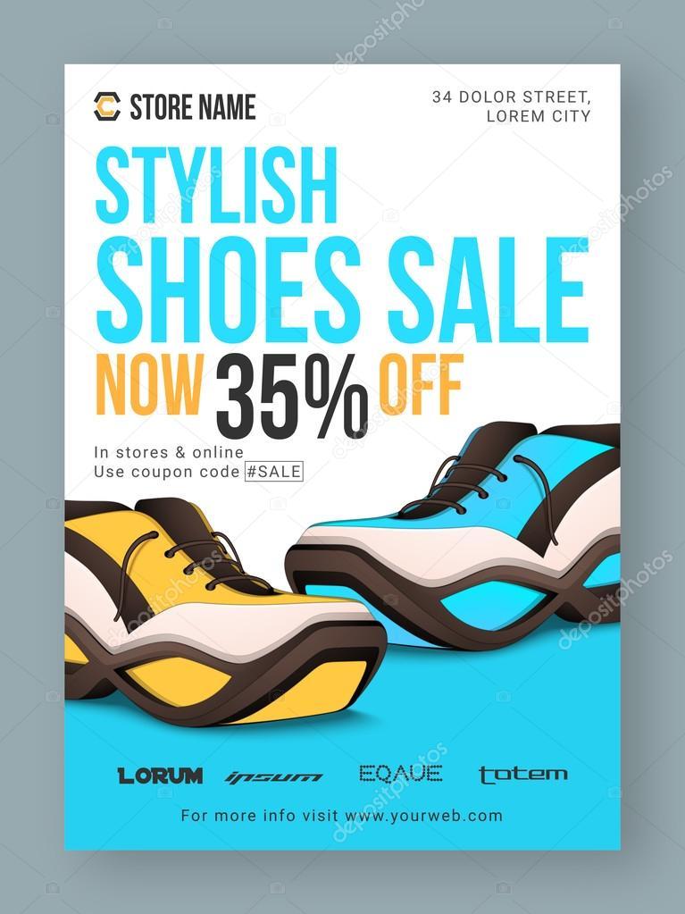 shoes sale poster banner or flyer design ストックベクター