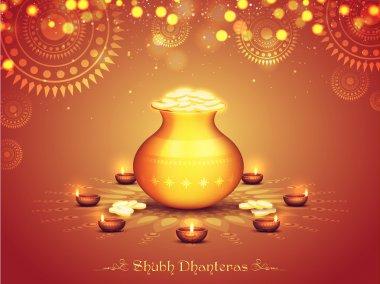 Golden coins pot for Diwali and Dhanteras.