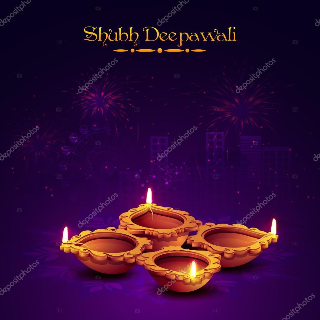 Earthen lit lamp for Diwali Celebration. — Stock Vector ... for Earthen Lamp Vector  165jwn