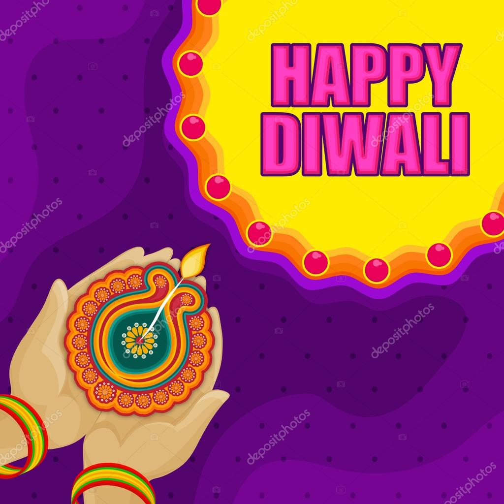 Greeting card for happy diwali celebration stock vector holding illuminated oil lit lamp diya on stylish colorful backgrond beautiful greeting card for indian festival of lights happy diwali celebration kristyandbryce Images