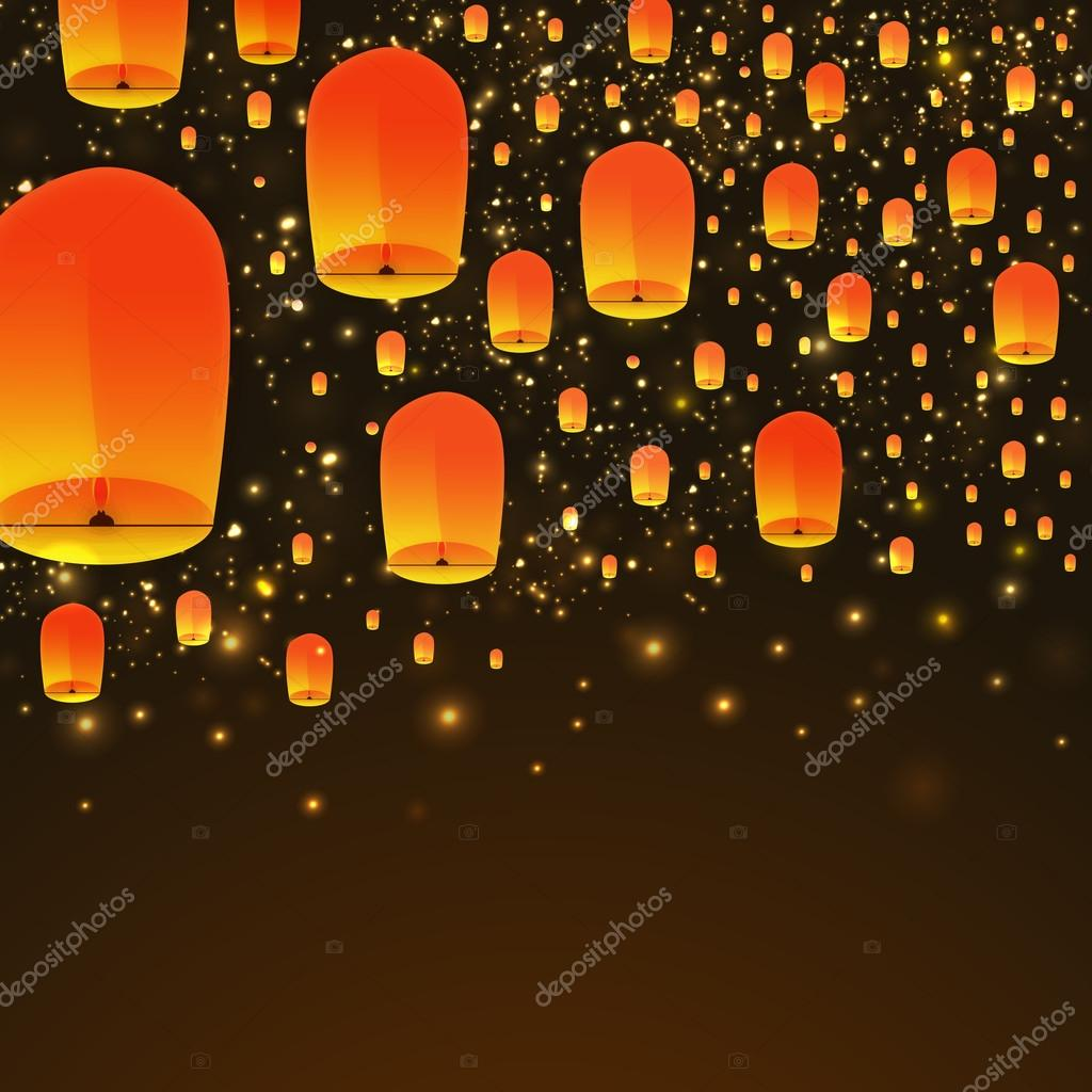 Beautiful Glowing Sky Lanterns Floating On Shiny Brown Background Premium Vector In Adobe Illustrator Ai Ai Format Encapsulated Postscript Eps Eps Format
