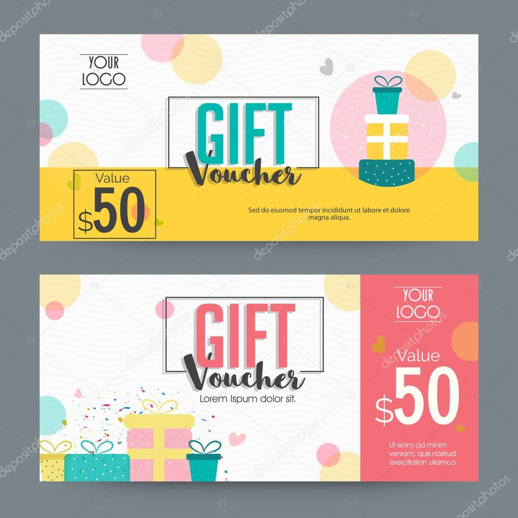 creative gift voucher template design stock vector