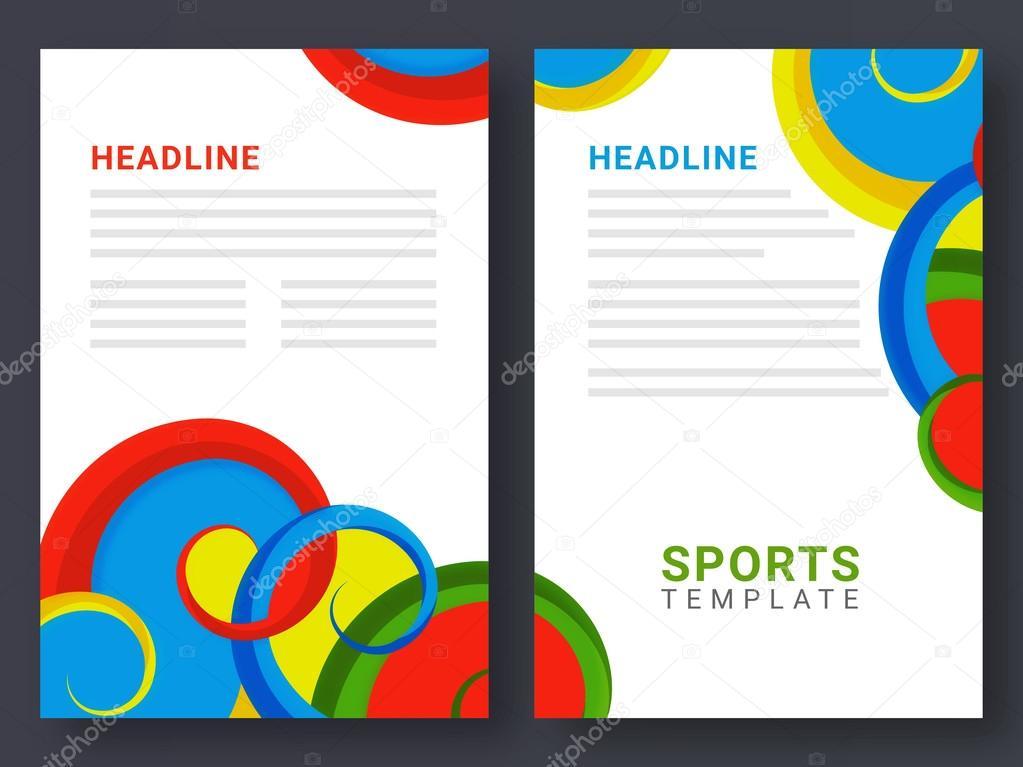 2 ページのパンフレット スポーツ コンセプトのテンプレート ストック