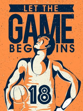 Poster, Banner with Basketball Player for Sports.