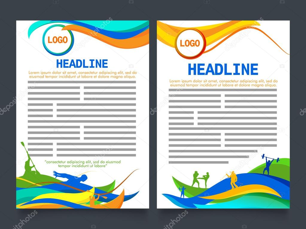 Two Page Brochure Template For Sports Concept Stock Vector - Two page brochure template