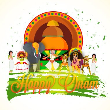 Creative illustration for Happy Onam celebration.