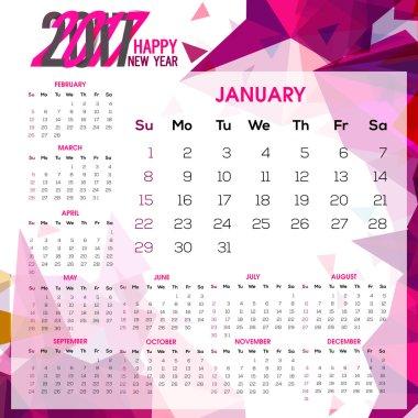 Yearly Calendar design of 2017.