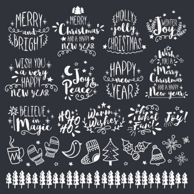 Christmas and New Year Calligraphic or Typographic set.