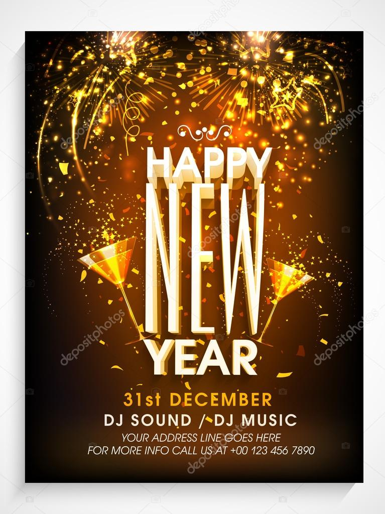 beautiful pamphlet banner or flyer design decorated with fireworks for happy new year celebration vector by alliesinteract