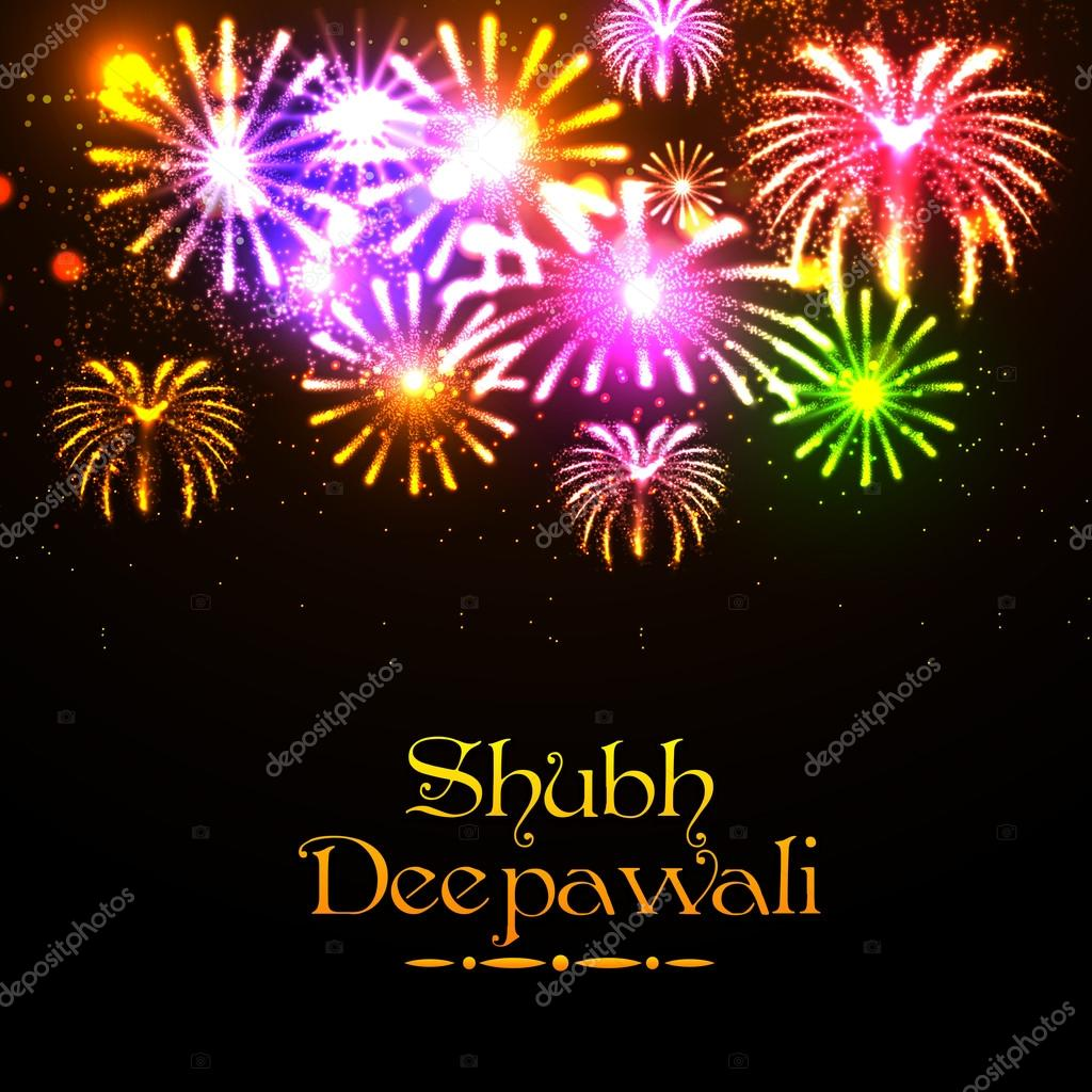 shubh deepawali celebration fireworks background ストックベクター