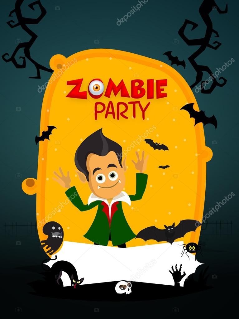 Zombie Party Invitation Card Design Stock Vector