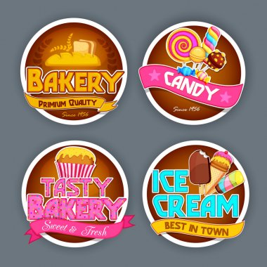 Typographic Stickers set for Food concept.