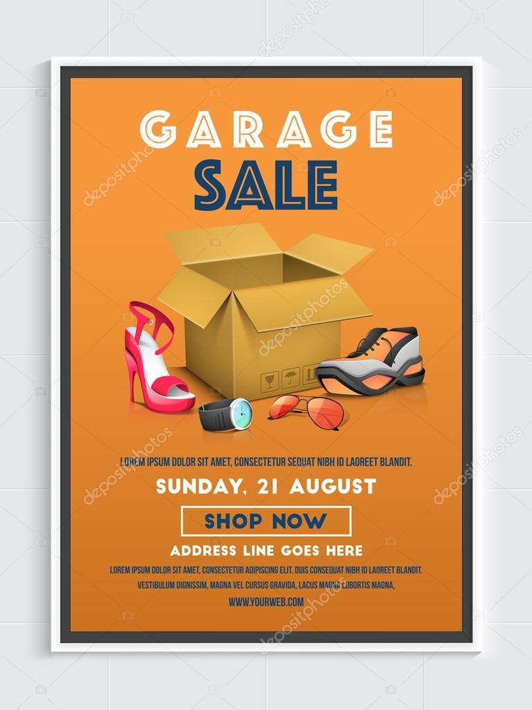 garage sale poster banner or flyer design stock vector