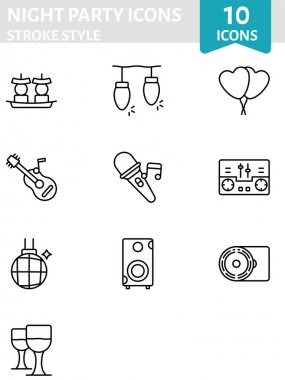 Stroke Style Night Party Icon Set In Flat Style. icon