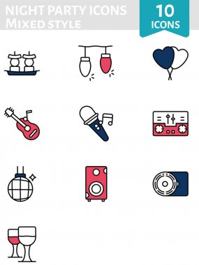 Illustration of Night Party Icon Pack in Flat Style. icon