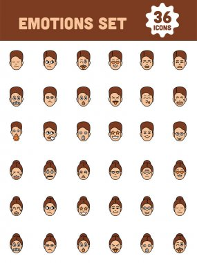 Male And Female Emotions Set Of Facial Expressions On White Background. icon