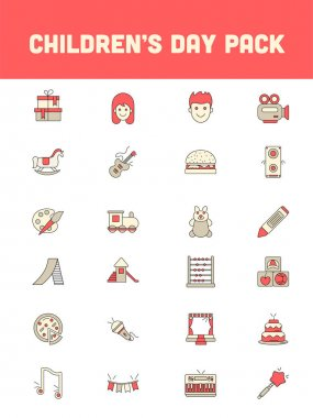 Children's Day Icon Pack In Colorful. icon