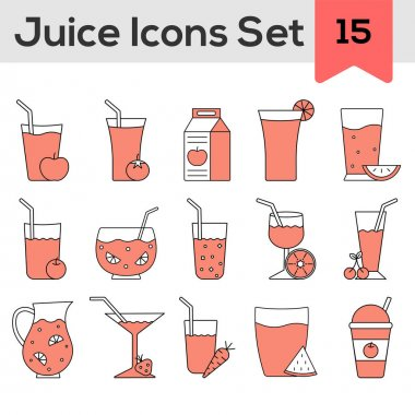 Isolated Juice Icon Set In Red And White Color. icon