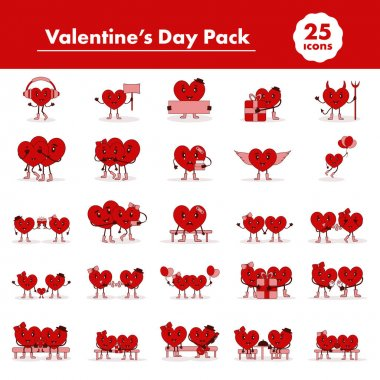 Set Of Velentine's Day Pack In Red And Brown Color. icon