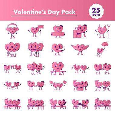 Vector Illustration Of Valentine's Day Pack In Pink And Purple Color. icon