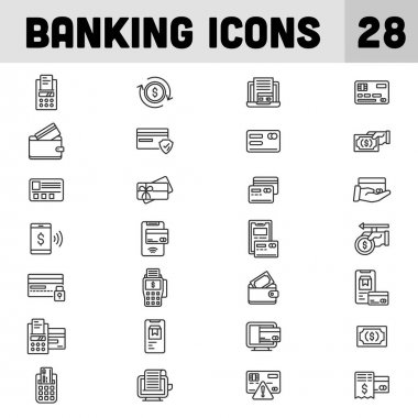28 Banking Icon Set in Thin Line Art. icon