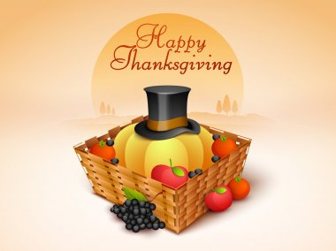 Thanksgiving Day celebration with veg, fruits and pilgrim hat in