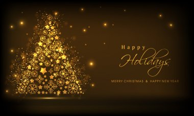 Shiny golden christmas tree and stylish text of Happy Holidays, Merry Christmas and New Year on brown background. clip art vector
