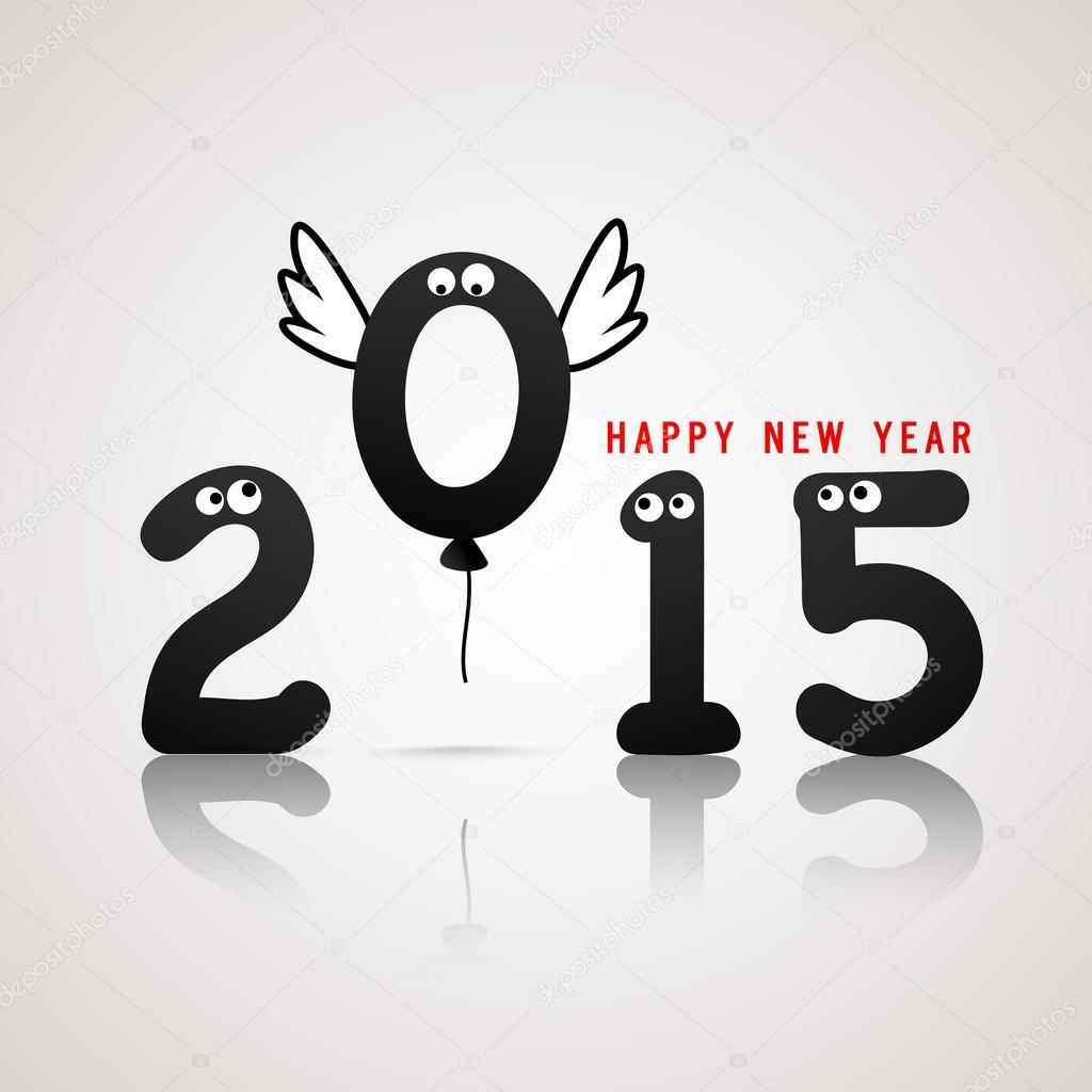 Happy New Year 2015 celebration with numbers cartoon style text ...