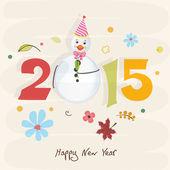 Šťastný nový rok 2015 stylové textu design s sněhulák.