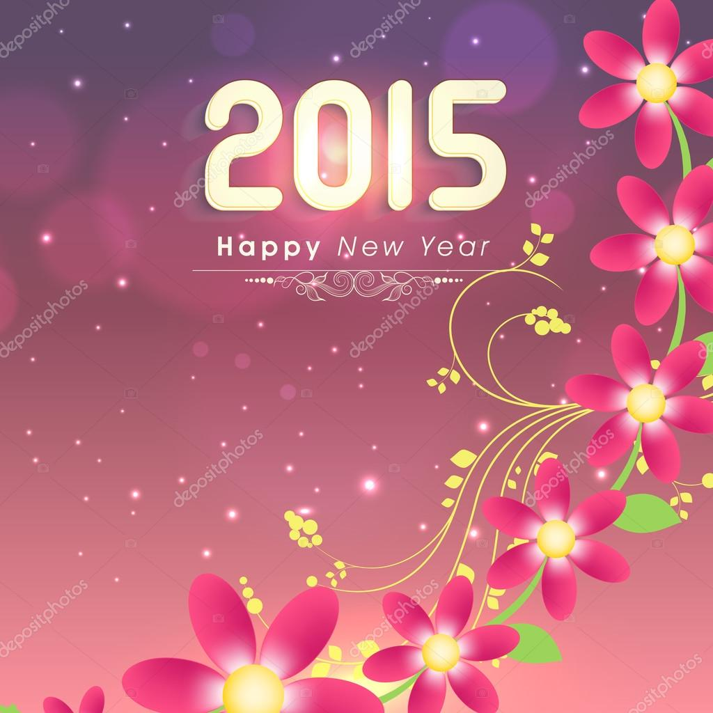 Stylish Happy New Year 2015 Greeting Card Design Stock Vector