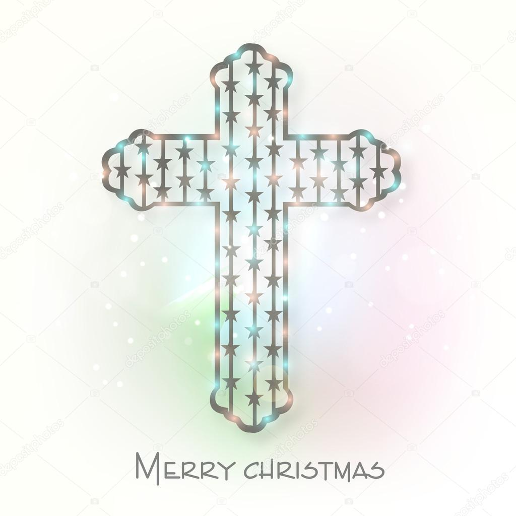 Merry christmas celebration with christian cross. — Stock Vector ...