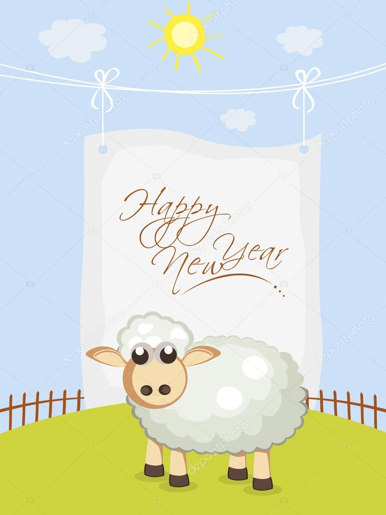 celebration of happy new year of sheep stock vector