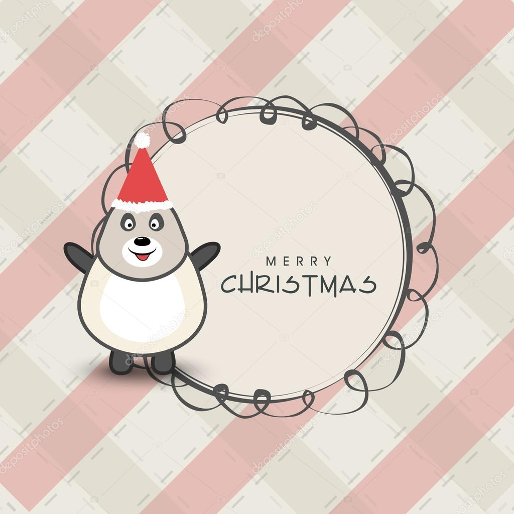 1ee5424465b66 Merry Christmas celebration concept with penguin. — Stock Vector ...