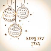 Fotografie Glückliches neues Jahr 2015 Feier Grußkarte mit Xmas Kugeln