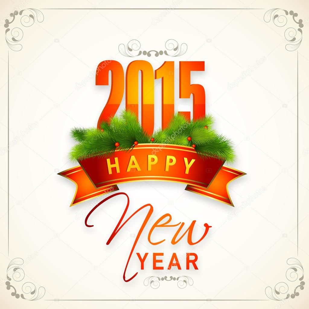 Happy New Year 2015 Celebrations Greeting Card Design Stock