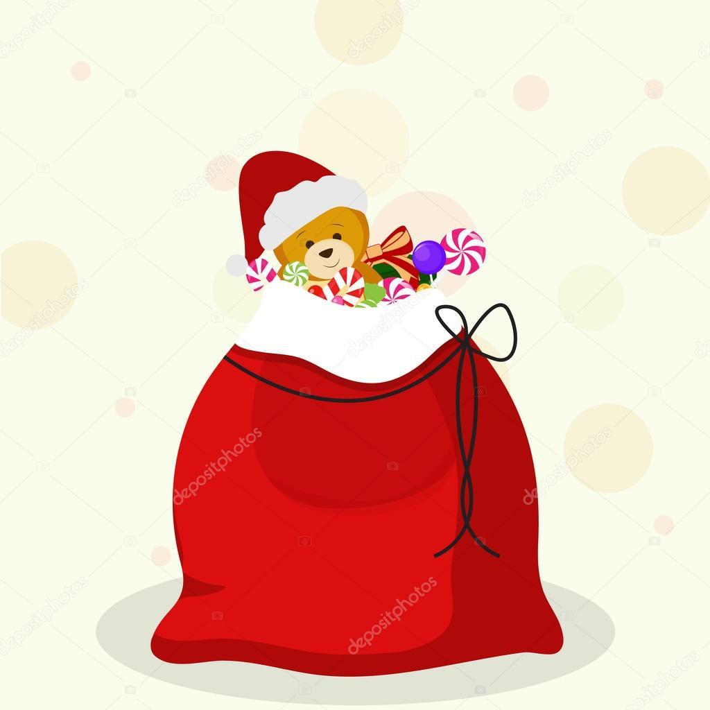 Weihnachten-Sack voller Geschenke für Weihnachtsfeiern — Stockvektor ...