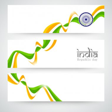 Indian Republic Day celebration web header or banner set.