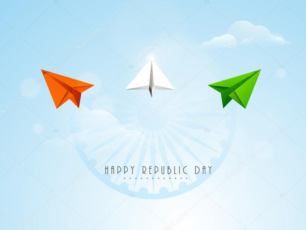 Indian Republic Day celebration with paper plane and ashoka wheel.