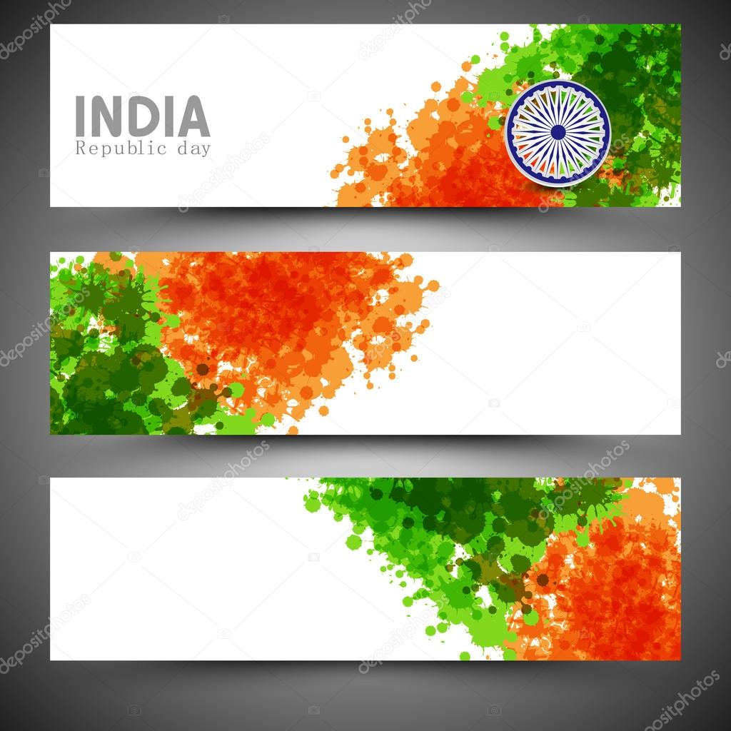 Colors website ashoka - Website Header Or Banner Set For Indian Republic Day Celebration With Ashoka Wheel And Splash Of National Flag Color Vector By Alliesinteract