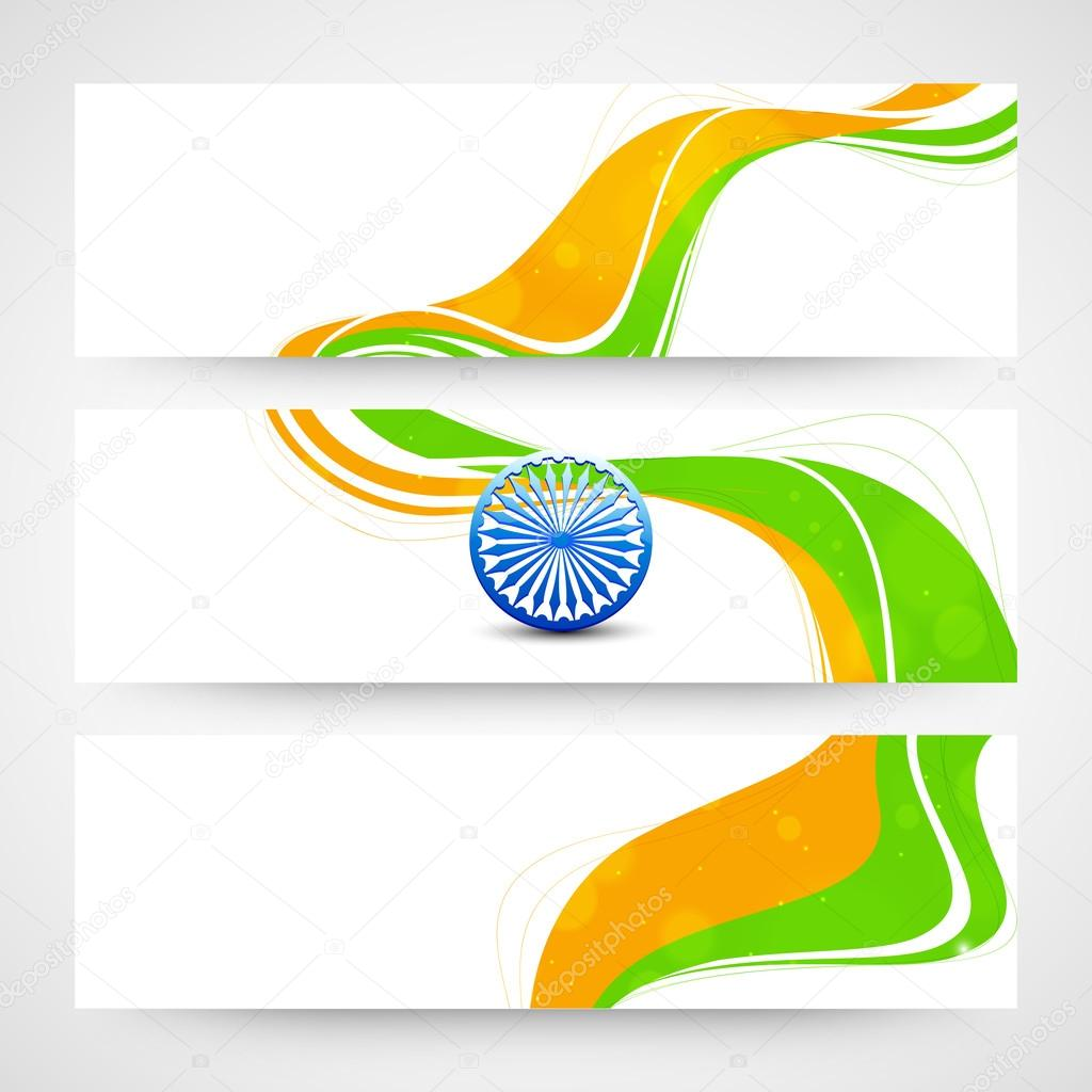 Colors website ashoka - Website Header Or Banner Set With Ashoka Wheel And National Flag Colors For Indian Republic Day And Independence Day Celebrations