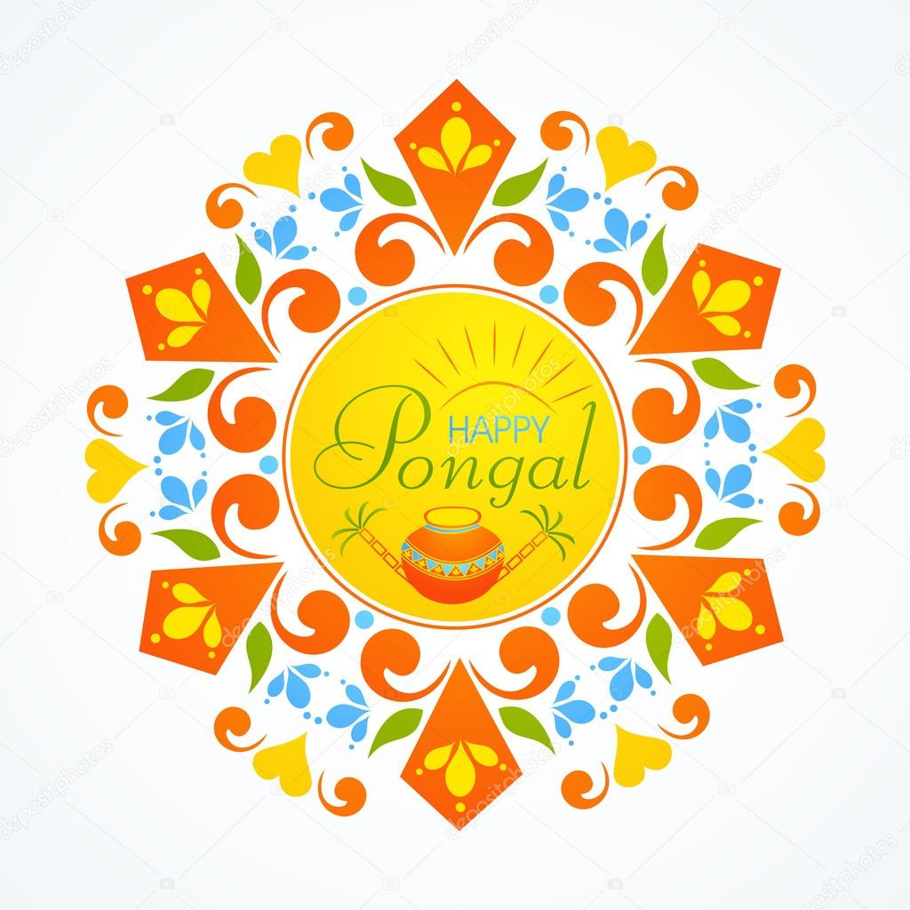 Greeting card design for pongal festival celebrations stock beautiful floral design decorated rangoli with wishing text happy pongal traditional pot and sugarcane for south indian harvesting festival celebrations m4hsunfo
