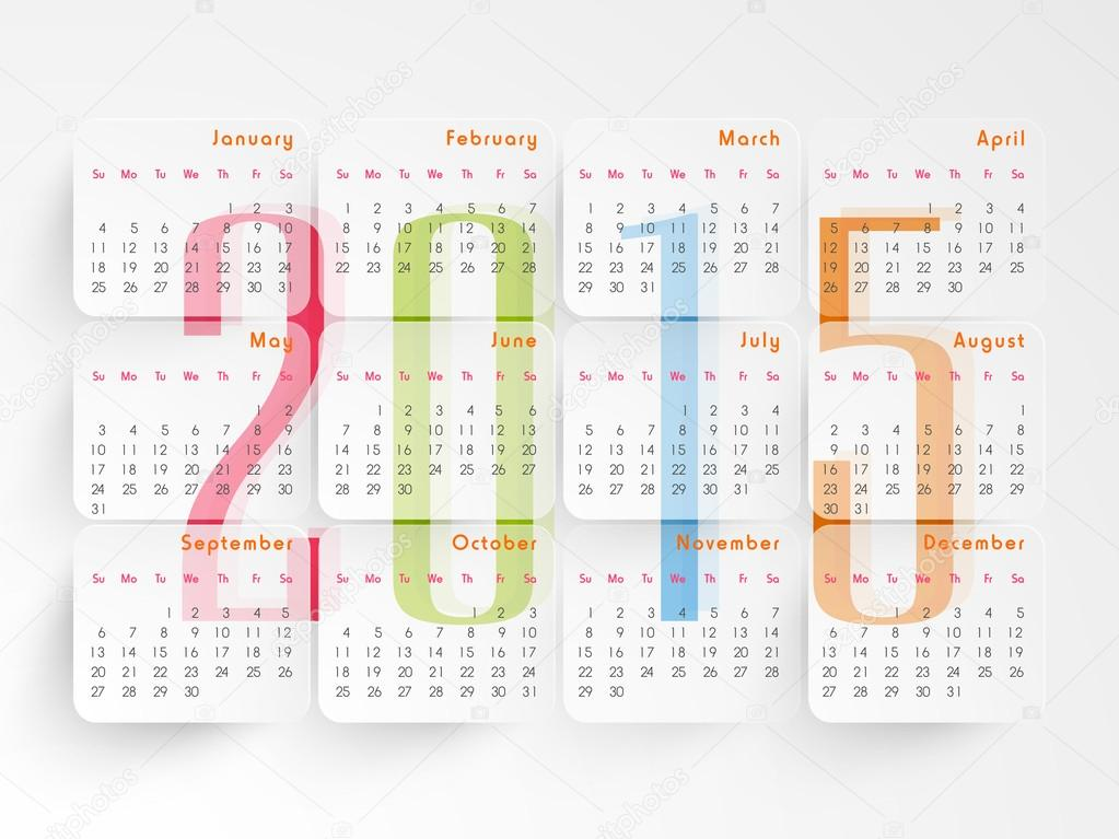 Calendar Design With Photos : Yearly calendar design — stock vector
