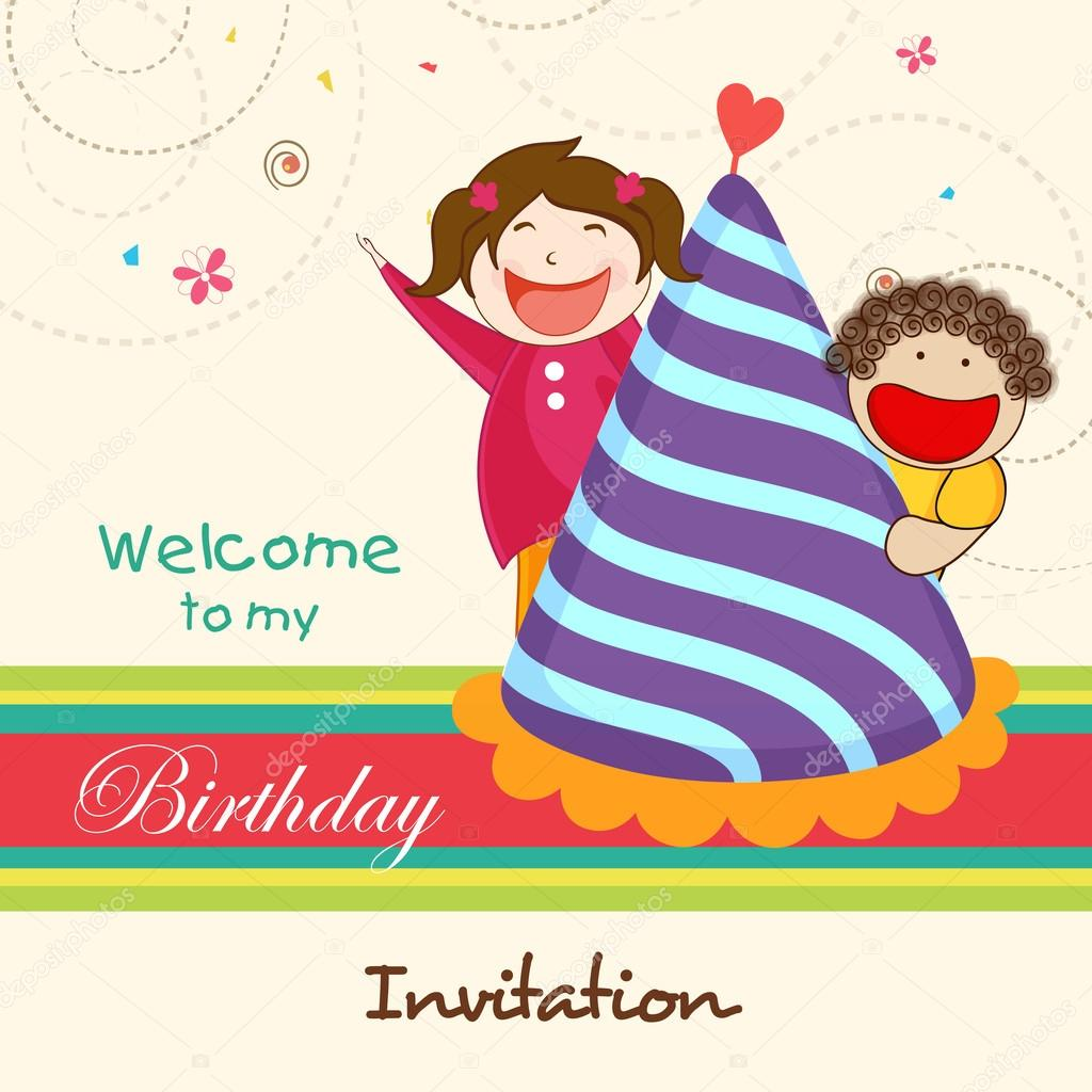 Birthday invitation card with kids stock vector alliesinteract birthday invitation card with kids stock vector stopboris Images