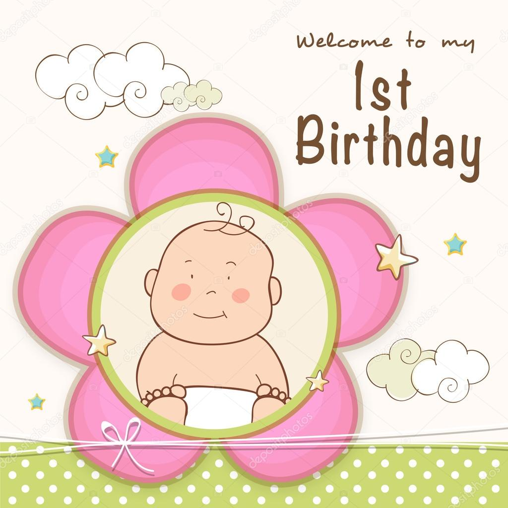1st Birthday Invitation card design. — Stock Vector © alliesinteract ...